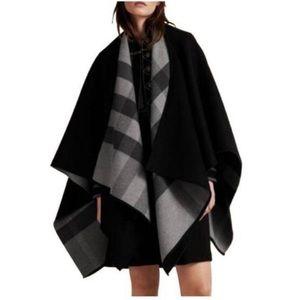 Burberry merino wool Charlotte check cape poncho